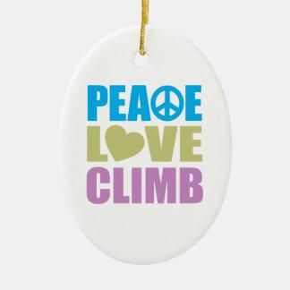 Peace Love Climb Ceramic Ornament