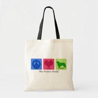 Peace Love Clumber Spaniel Tote Bag
