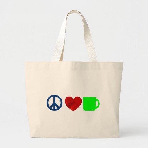 Peace, Love, Coffee Canvas Bag