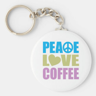 Peace Love Coffee Basic Round Button Keychain