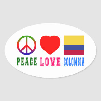 Peace Love Colombia Oval Sticker