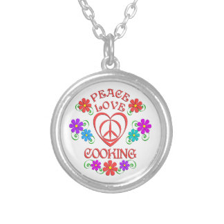 Peace Love Cooking Silver Plated Necklace