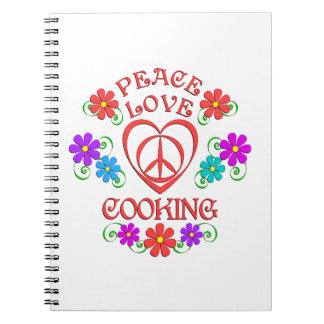 Peace Love Cooking Spiral Notebook