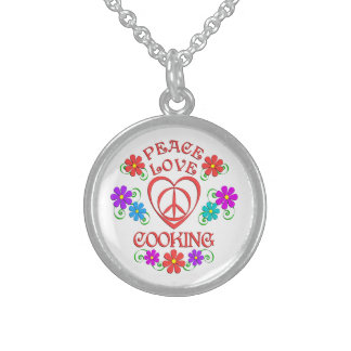 Peace Love Cooking Sterling Silver Necklace