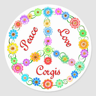 Peace Love Corgis Classic Round Sticker