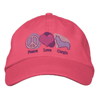 Peace Love Corgis Embroidered Hat (Pink & Purple)