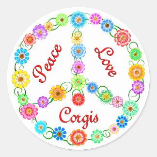 Peace Love Corgis Round Sticker