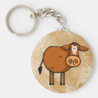 peace love cow basic round button keychain