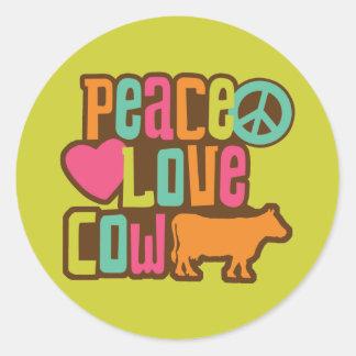 Peace Love Cow Round Sticker
