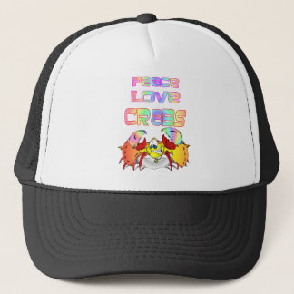 PEACE LOVE CRABS TRUCKER HAT