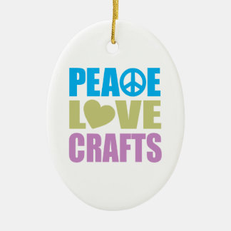 Peace Love Crafts Ceramic Oval Ornament