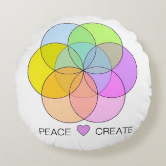Peace Love Create Round Pillow