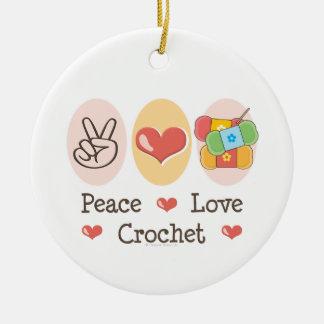 Peace Love Crochet Ornament