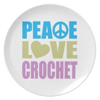 Peace Love Crochet Party Plate