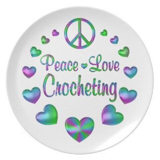 Peace Love Crocheting Party Plate