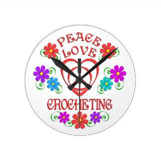 Peace Love Crocheting Round Clock