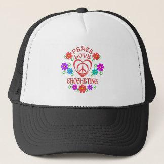 Peace Love Crocheting Trucker Hat