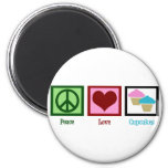 Peace Love Cupcakes 2 Inch Round Magnet