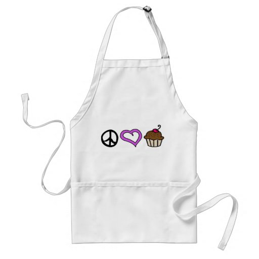 Peace, Love & Cupcakes! Apron -Purple