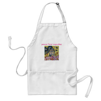 Peace Love Cupcakes Buddha Watercolor Art Apron