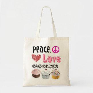 Peace, Love, Cupcakes Tote Bag