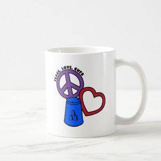 Peace, Love, Cups, blue Basic White Mug
