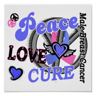 Peace Love Cure 2 Male Breast Cancer Print