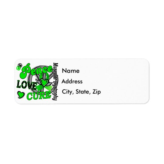 Peace Love Cure 2 Muscular Dystrophy Return Address Label