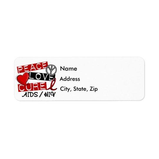 Peace Love Cure AIDS HIV Return Address Label