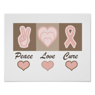 Peace, Love, Cure Breast Cancer Poster