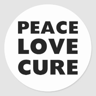 Peace Love Cure Classic Round Sticker