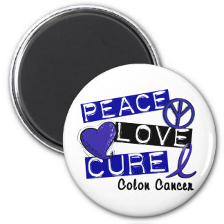 PEACE LOVE CURE COLON CANCER MAGNET