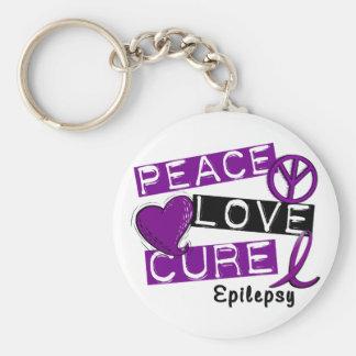 PEACE LOVE CURE EPILEPSY KEYCHAIN