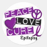 PEACE LOVE CURE EPILEPSY ROUND STICKER