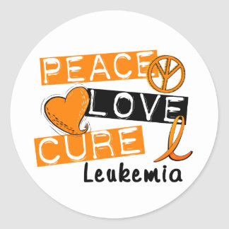 Peace Love Cure Leukemia Round Sticker