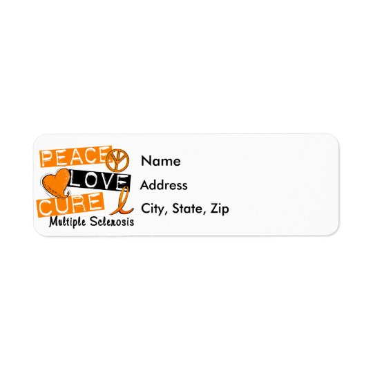 Peace Love Cure Multiple Sclerosis MS Return Address Label
