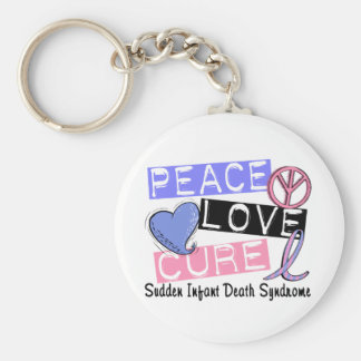 Peace Love Cure SIDS Sudden Infant Death Syndrome Keychain