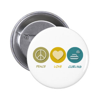 Peace Love Curling 2 Inch Round Button