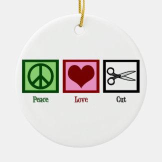 Peace Love Cut Ceramic Ornament