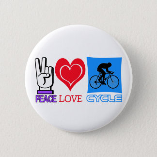 PEACE LOVE CYCLE 2 INCH ROUND BUTTON