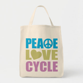 Peace Love Cycle Canvas Bags
