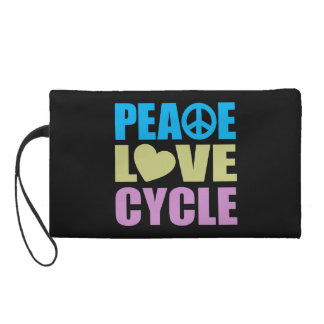 Peace Love Cycle Wristlet Clutches