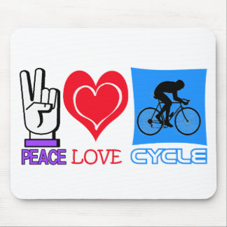 PEACE LOVE CYCLE MOUSE PAD