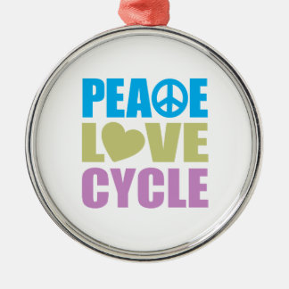 Peace Love Cycle Silver-Colored Round Ornament