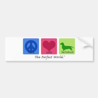 Peace Love Dachshund Bumper Sticker