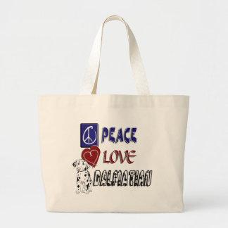 PEACE LOVE DALMATIAN LARGE TOTE BAG