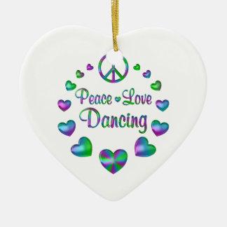 Peace Love Dancing Ceramic Ornament
