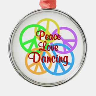Peace Love Dancing Silver-Colored Round Ornament