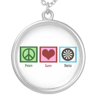 Peace Love Darts Silver Plated Necklace