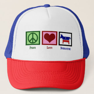 Peace Love Democrat Trucker Hat